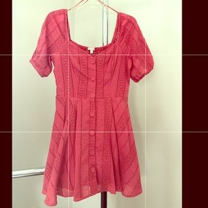 Button Front Eyelet Coral Dress